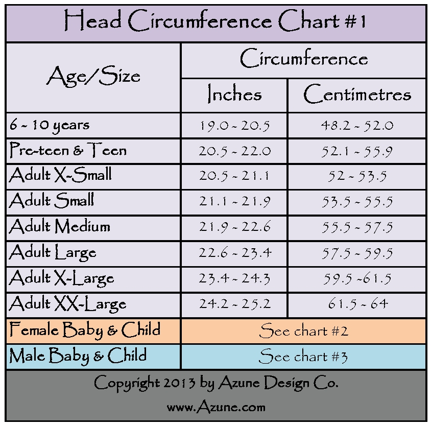 head size chart for babies: Azune design co hat head size charts