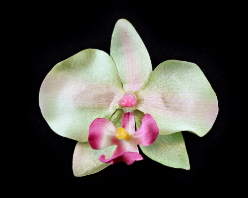 azune design co pale green orchid hair clip small